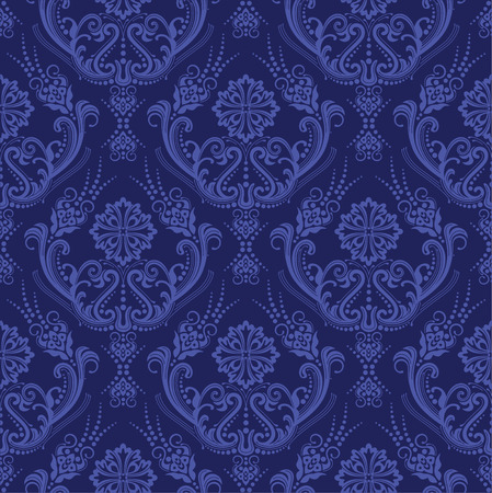 Luxury blue floral damask wallpaper Vector