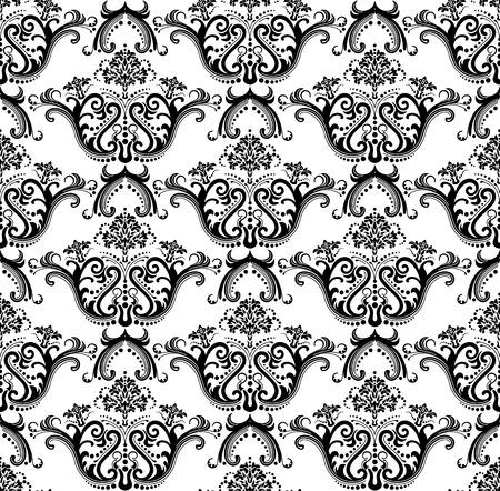 Seamless luxury black & white wallpaper Vector