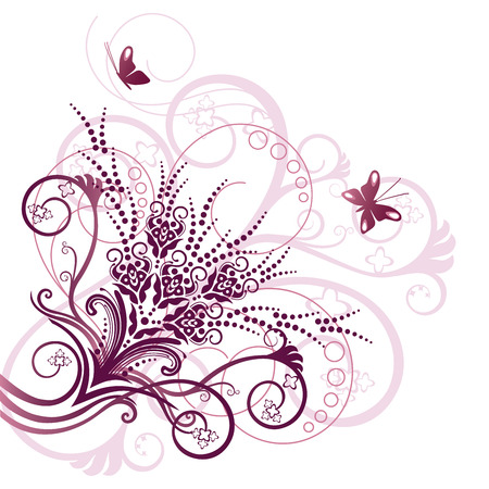 Pink floral corner design element Stock Vector - 7555911
