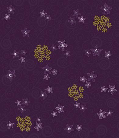 Seamless purple swirls and flowers wallpaper Stock Vector - 7913376