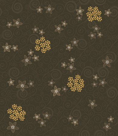 Brown swirls and flowers seamless wallpaper Stock Vector - 7913375