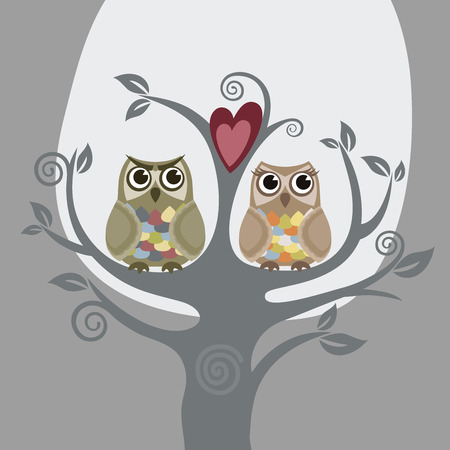 Two owls and love tree