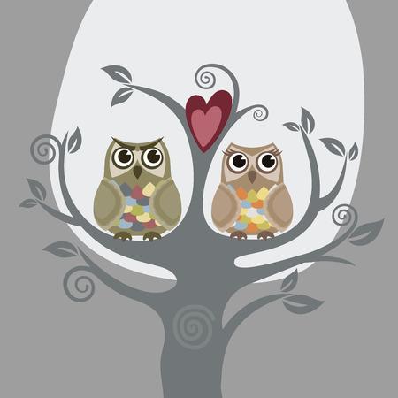 Twee uilen en liefde boom  Stockfoto - 7913374