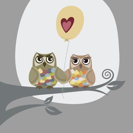 Twee uilen en liefde ballon  Stock Illustratie