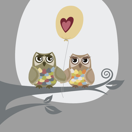 Two owls and love balloon Vector