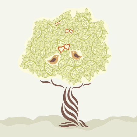 Two love birds and stylized tree greeting card