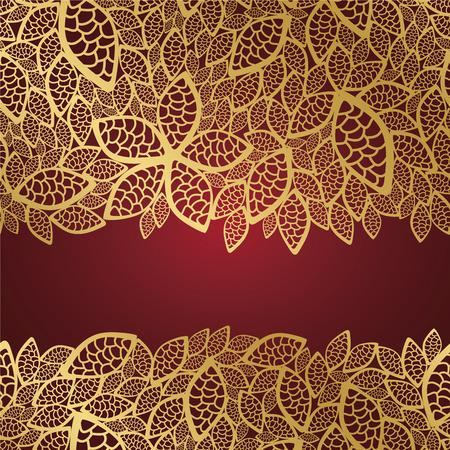 Golden leaf kant op rode achtergrond Stock Illustratie