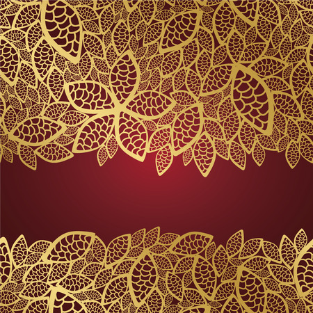 retro lace: Golden leaf lace on red background