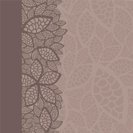 Borde de patrón de hoja y fondo  Ilustración de vector