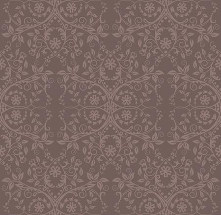 Seamless cocoa floral wallpaper