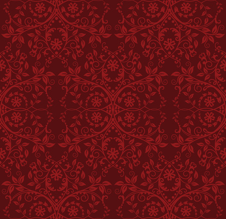 antique wallpaper: Seamless red floral wallpaper