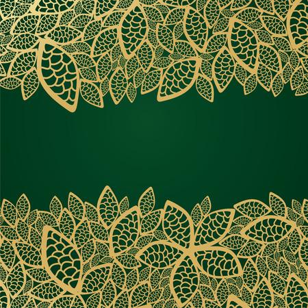 Golden leaf lace on green background Vector