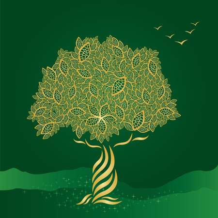 Golden stylized tree on green background Illustration