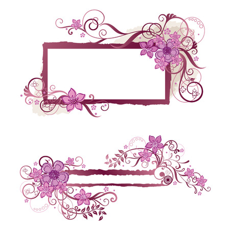 Pink floral frame and banner design Illustration