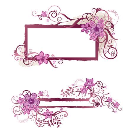 Pink floral frame and banner design Stock Illustratie
