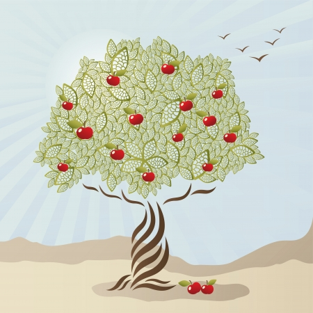 Single stylized apple tree Vector