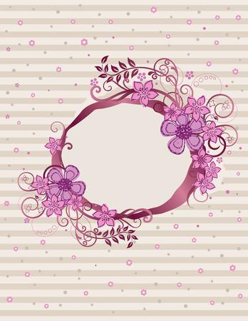 Floral pink oval frame design Vector