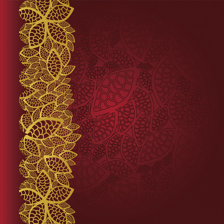 Red background with golden leaves border Vector