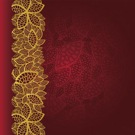 Rode achtergrond met gouden bladeren rand Stock Illustratie
