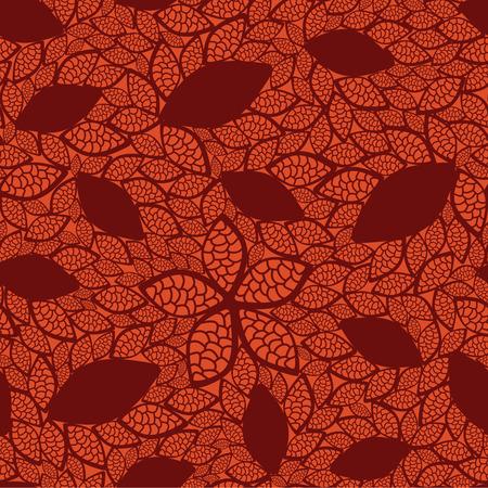amazing wallpaper: Modello di foglie rosse senza saldatura su sfondo arancione