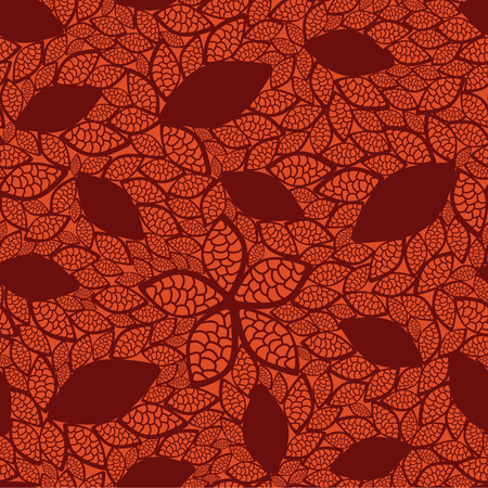 Naadloze rode bladeren patroon op oranje achtergrond