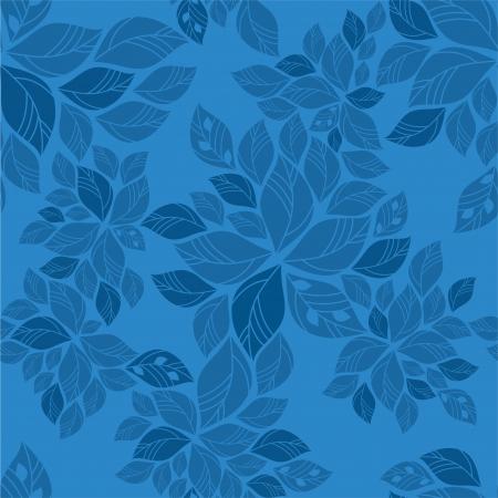Naadloze blauwe bladeren patroon Stock Illustratie