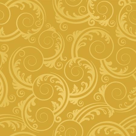 Naadloze golden wervelingen en laat Wall paper