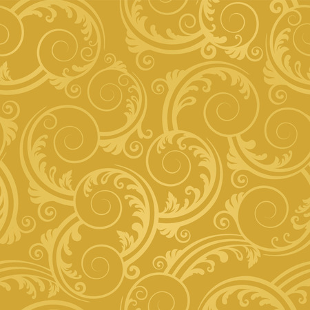 continuous: Seamless golden swirls and leaves wallpaper