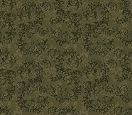Seamless khaki green foliage pattern Illustration
