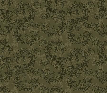 dark gray: Seamless khaki green foliage pattern Illustration
