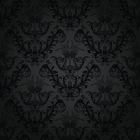 Luxury seamless charcoal floral wallpaper Stock Vector - 8543506