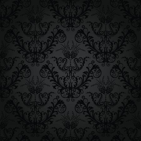 papier peint noir: Wallpaper floral au charbon de bois sans soudure de luxe