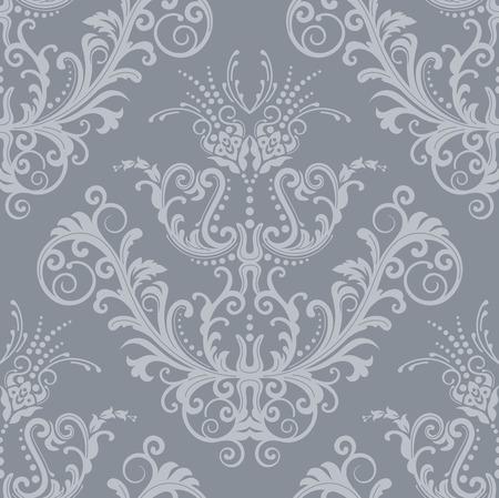 Luxe naadloze Zilveren bloem vintage behang Stock Illustratie