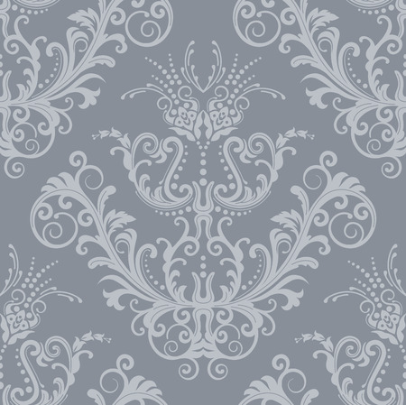 rich wallpaper: Luxury seamless silver floral vintage wallpaper