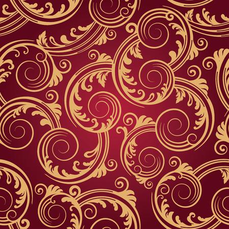 Seamless red & gold swirls wallpaper Stock Illustratie