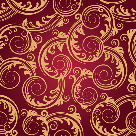 Seamless red & gold swirls wallpaper Illustration