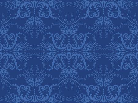 Naadloze blauwe bloemen behang