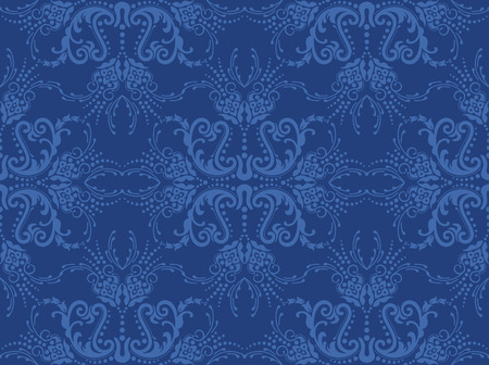 navy blue: Seamless blue floral wallpaper