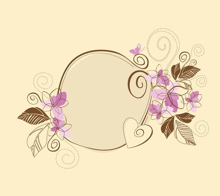 Cute pink and brown floral frame Stock Vector - 8584284