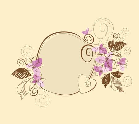 Schattige roze en bruine bloemen frame