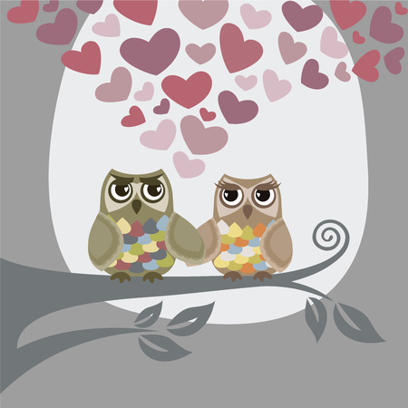 Love is in the air for two owls Stock Vector - 8584283