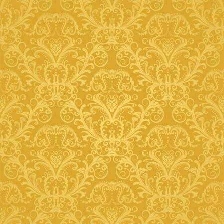 Luxe naadloze gouden bloemen behang
