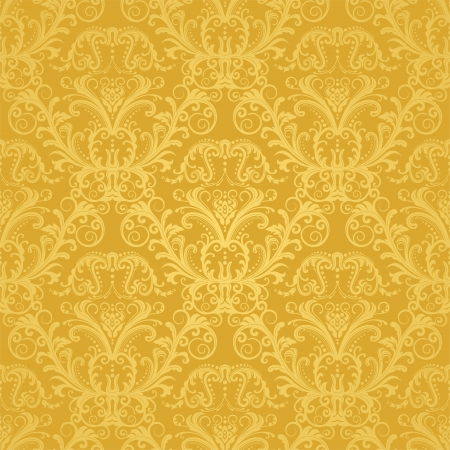 seamless damask: Wallpaper floral oro transparente de lujo