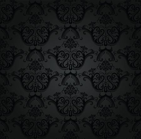 Charcoal floral seamless wallpaper