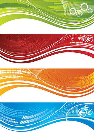 flechas curvas: Conjunto de coloridas banderas t�cnicas