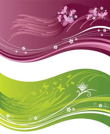 flores fucsia: Banners ondulados florales rosas y verdes Vectores