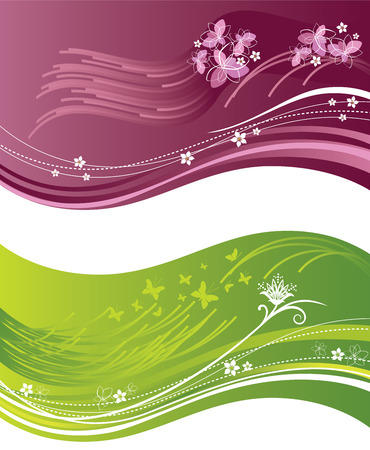 Pink and green floral wavy banners Stock Vector - 8629541