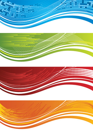 curved line: Set of four colourful halftone banners