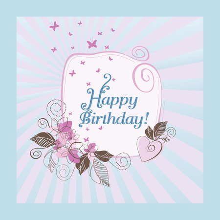 Cute blue and pink happy birthday card Stock Vector - 8711697