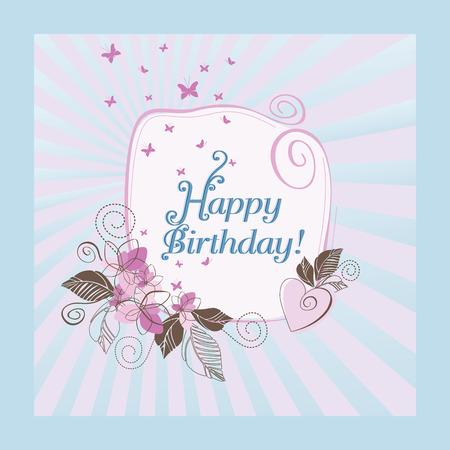 sunburn:  Cute blue and pink happy birthday card